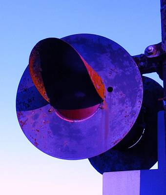 Photograph - Rr Crossing Signal In Purple by Bill Tomsa