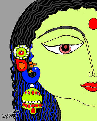 Rradha With Ornaments-12 Art Print by Anand Swaroop Manchiraju