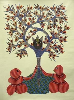 Ram Singh Urveti Painting - Rsu 56 Tree Of Life by Ram Singh Urveti