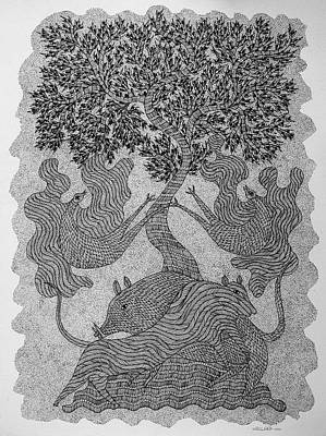 Gond Tribal Art Painting - Rsu 77 by Ram Singh Urveti