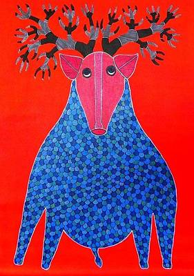 Gond Tribal Art Painting - Rt 12 by Ramesh Tekam