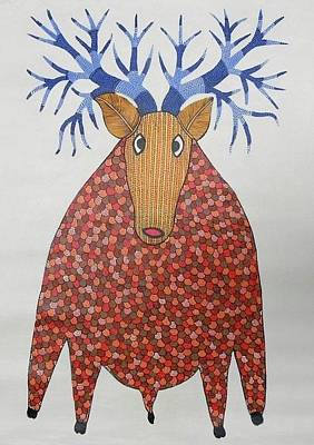 Gond Tribal Art Painting - Rt 13 by Ramesh Tekam
