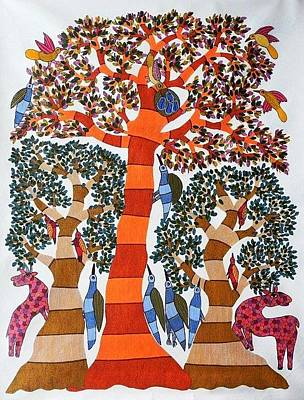 Gond Tribal Art Painting - Rt 14 by Ramesh Tekam