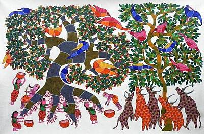 Gond Tribal Art Painting - Rt 16 by Ramesh Tekam