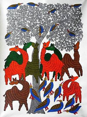 Gond Tribal Art Painting - Rt 17 by Ramesh Tekam