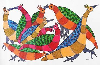 Indian Tribal Art Painting - Rt 25 Birds by Ramesh Tekam