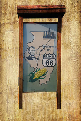 Rt 66 Towanda Il Welcome Signage Art Print by Thomas Woolworth