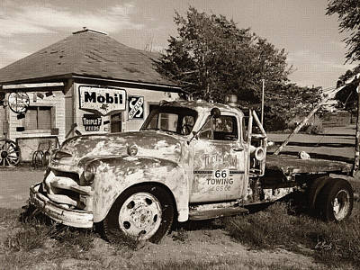 Old Tow Truck Photograph - Rt. 66 Towing Sepia by Gordon Beck