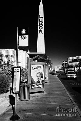 Busstop Photograph - rtc deuce sdx bus stop outside the luxor hotel on Las Vegas boulevard Nevada USA by Joe Fox
