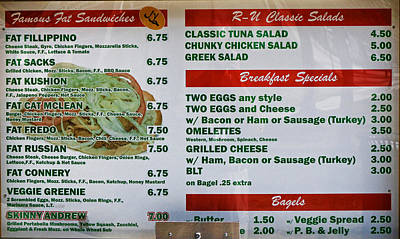 Photograph - R U Hungry Menu by Allen Beatty