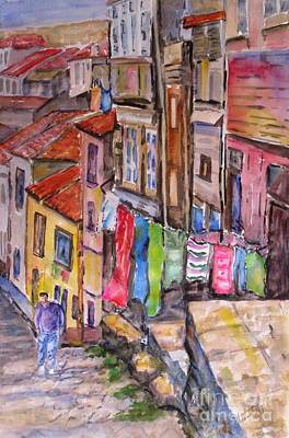 Laundry Painting - Rua Conticeira Brazil  by Mohamed Hirji
