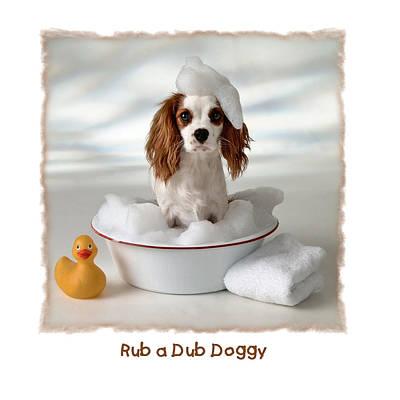 Funny Dog Digital Art - Rub A Dub Doggy by Diane Hagler