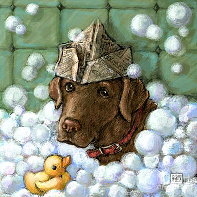 Retrievers Mixed Media - Rub A Dub Dub - Chocolate by Kathleen Harte Gilsenan