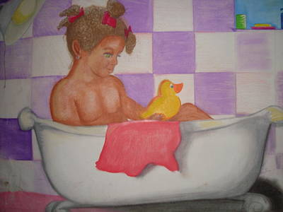 Little Girl Mixed Media - Rub A Dub by Heather Hilliard
