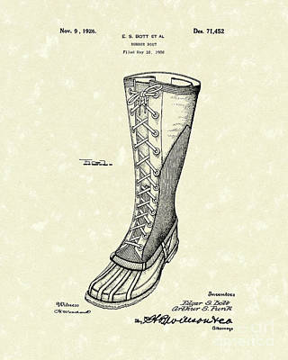 Boots Drawing - Rubber Boot 1926 Patent Art by Prior Art Design