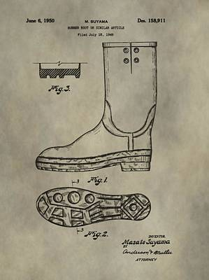 Shoe Digital Art - Rubber Boots Patent by Dan Sproul