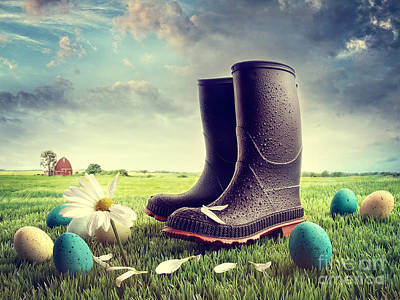 Photograph - Rubber Boots With Easter Eggs On Grass by Sandra Cunningham
