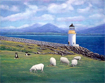 Art Print featuring the painting Rubh An Duin Lighthouse Scotland by Fran Brooks