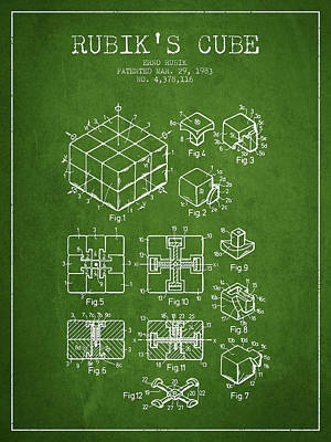 Fantasy Digital Art - Rubiks Cube Patent from 1983 by Aged Pixel