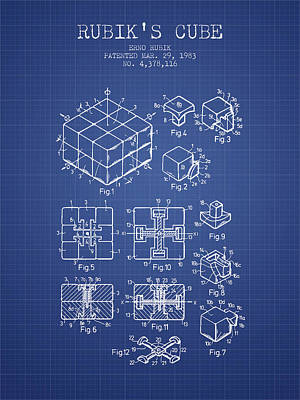 Rubiks Cube Patent From 1983 - Blueprint Art Print by Aged Pixel
