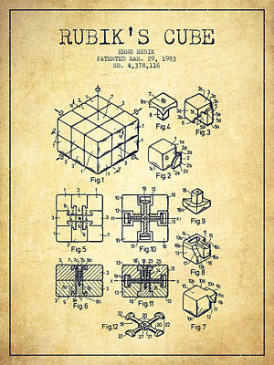 Fantasy Digital Art - Rubiks Cube Patent from 1983 - Vintage by Aged Pixel