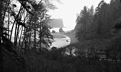 Photograph - Ruby Beach In The Winter In Black And White by Jeanette C Landstrom