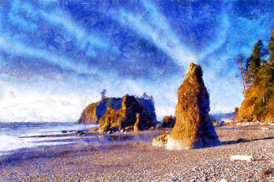Digital Art - Ruby Beach by Kaylee Mason