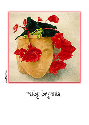 Planter Wall Art - Painting - Ruby Begonia... by Will Bullas