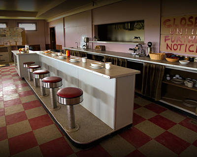 Dog In Landscape Photograph - Ruby Cafe Interior From The Canadian Tv Sitcom Corner Gas by Randall Nyhof