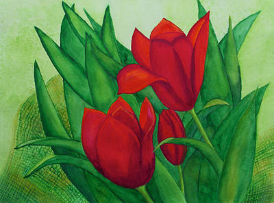 Painting - Ruby Red Tulips by Patricia Beebe
