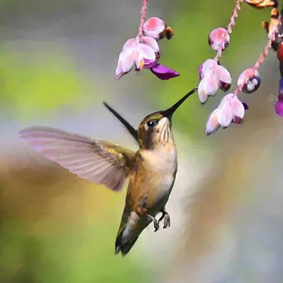 Ruby-throated Hummingbird - Digital Art Art Print by Travis Truelove