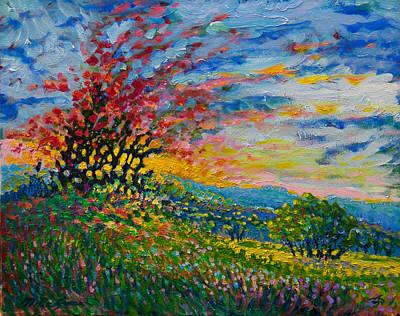 Ruby Tree Ablaze Art Print