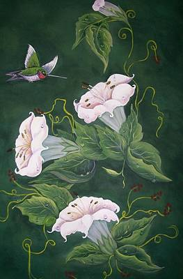 Art Print featuring the painting Hummingbird And Lilies by Sharon Duguay