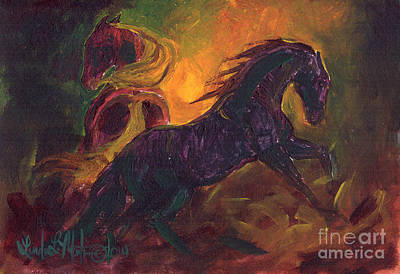 Horses Stampede Painting - Ruckus by Linda L Martin