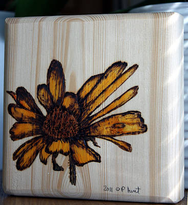 Mixed Media - Rudbeckia Pyrography Art Block by Penny Hunt