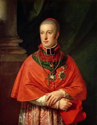Lace Photograph - Rudolf Of Habsburg, Archduke Of Austria 1788-1831, Youngest Son Of Leopold II 1747-93, In Cardinals by Johann Baptist Edler von Lampi