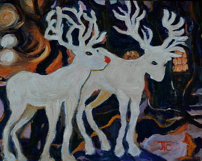 Painting - Rudolph And Friend by Julie Todd-Cundiff