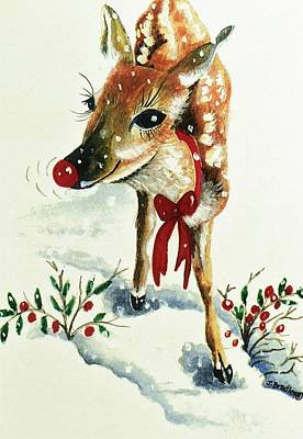 Rudolph Art Print by Joy Bradley