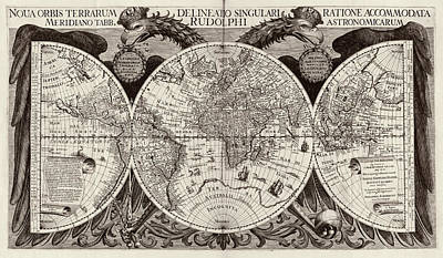 Tycho Photograph - Rudolphine Tables World Map by Library Of Congress