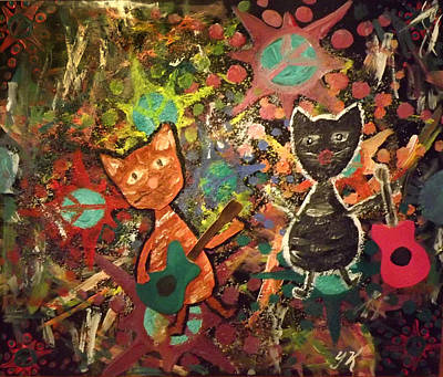 Rudy And Sketch Electric Cats Art Print by Yvonne  Kroupa