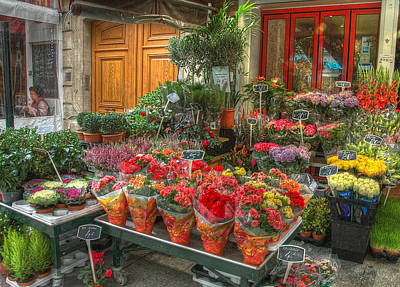 Rue Cler Flower Shop Art Print