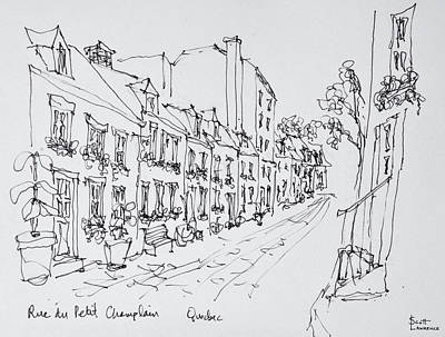 Pen And Ink Drawing Photograph - Rue Du Petit Champlain, Vieux Quebec by Richard Lawrence