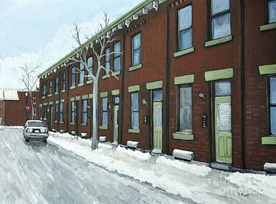 Point St. Charles Painting - Rue Grand Trunk Pointe St. Charles by Reb Frost