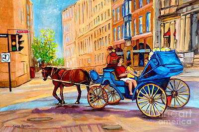 Montreal Cityscenes Painting - Rue Notre Dame Caleche Ride by Carole Spandau