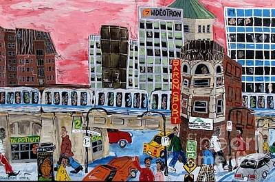 Montreal Streets Mixed Media - Rue Notre-dame by Sebastien Moreau