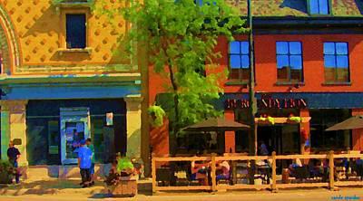 Bistro Painting - Rue Notre Dame Street Scene Burgundy Lion Bar South West Montreal City Scene Art Carole Spandau by Carole Spandau