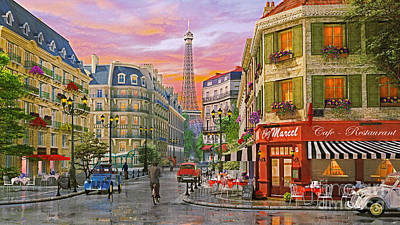 Nostalgic Digital Art - Rue Paris by Dominic Davison