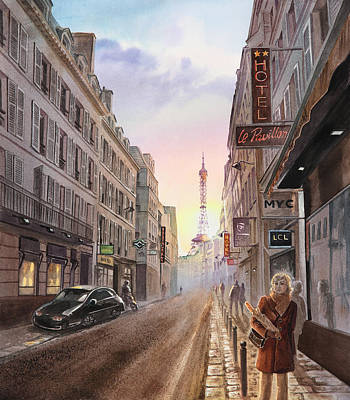 City Scape Painting - Rue Saint Dominique Sunset Through Eiffel Tower   by Irina Sztukowski