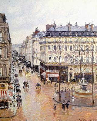 Umbrella Painting - Rue Saint Honore Afternoon Rain Effect by Camille Pissarro