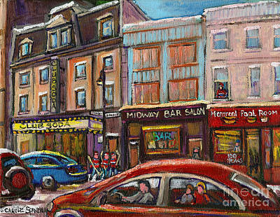 Montreal Street Life Painting - Rue Saint Laurent Club Soda Montreal by Carole Spandau